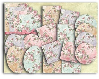 Digital Images - Digital Collage Sheet Download - Shabby Chic Roses Texture Kit  -  799  - Digital Paper - Instant Download Printables