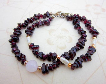 CLEARANCE SALE Two garnet bracelets with freshwater pearls, gold beads, & pink quartz - beaded bracelet - gemstone bracelets - semi-precious