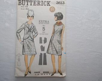 Vintage Butterick Dress Pattern 3613  Size 14