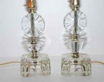 Pair of Vintage Heavy Glass Table Lamps