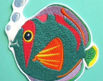Large Embroidered Colorful Fish Applique Patch, Beach Applique, Seashore, Seaside, Ocean, Sun-sational Fish Applique,Iron On or Sew On, No.3
