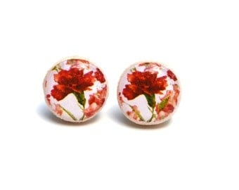 Red floral stud earrings flower studs tiny stud earrings flower post earrings  Wood jewelry.  Starlight woods. Eco friendly