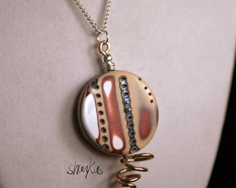 Polymer Clay Pendant - wire wrapping - WEARABLE ART!!!