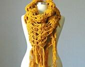 Crochet scarf, shawl scarf, fringe shawl,  winter accessories, gift for her, winter, winter accessories, long scarf shawl