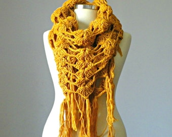SALE, Crochet scarf, shawl scarf, fringe shawl,  winter accessories, gift for her, winter, winter accessories, long scarf shawl