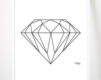 Items similar to peach pink and coral geometric diamond this day