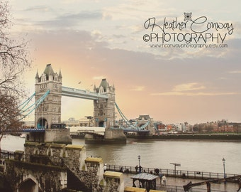 London Photograph Tower Bridge Clouds Rainbow, City of London at Night Fine Art Photography office art wall art home decor Digital Download