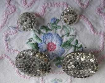 """Vintage Glass Buttons - Pebble Finish Shank - 2 Large 1"""", 2 Small 1/2"""""""