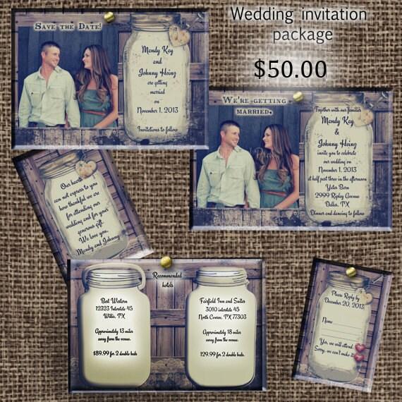 Invitation Packages Wedding: Rustic Wedding Invitation Package Save The Date Invitation