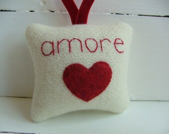 "Red and White Valentine's Day Decoration ""amore"" love with Red Heart and Ribbon"
