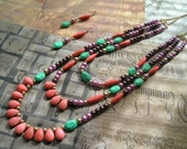 ANAIKA Long Beaded Multi Rows Strands Necklace and Earrings Set in Orange Green Brown and Purple
