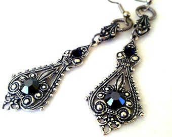 Victorian Gothic Silver Earrings Black Swarovski Crystal Earrings Goth Bridal Filigree Earrings Gothic Jewelry Victorian Jewelry