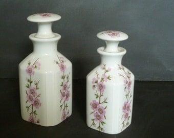 Vintage French Porcelain of Paris Jar container bottle.Romantic pink flowers .Boudoir Decor chic