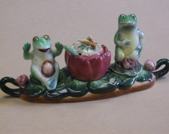 Vintage Frog Salt and Pepper Shakers with Condiment Bowl and Spoon