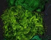 Recycled Sari Silk Fiber Threads Cobweb - Green - Fair Trade