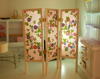 Real Japanese washi paper miniature folding screen Chiyogami Yuzen 1:12 scale dollhouse