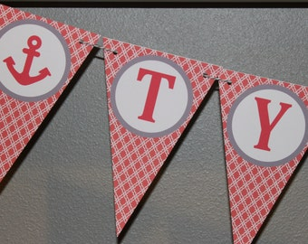 TYING THE KN0T Nautical Anchor Themed Bridal Shower Banner Coral Gray - Party Packs Available