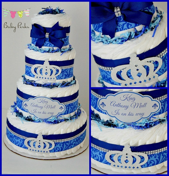 little prince diaper cake prince baby shower silver blue royal and gold
