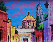 """Original art painting of San Miguel de Allende Church street view in Mexican town architectural home decor 19.5"""" 25.5"""""""