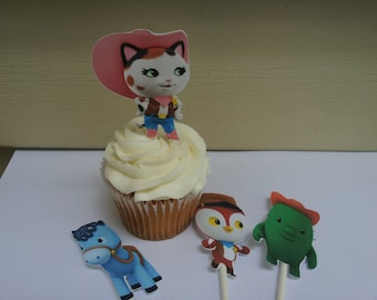 12 Sheriff Callie cowgirl cartoon cupcake toppers, party decoration