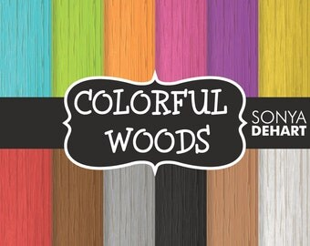 70% OFF SALE Digital Paper Colorful Woods Background Patterns
