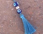 Blue Nazar Eye Beaded Charm with Tassel, Evil Eye Protection, Zipper Pull, Purse Charm, Yoga Bag Accent
