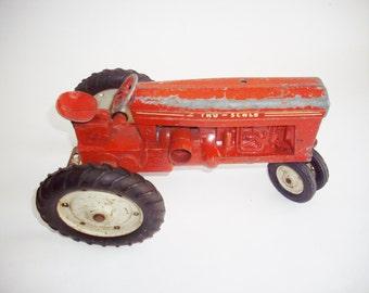 Vintage Tru-Scale Red Tractor Toy Industrial Metal