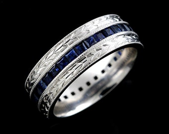 square sapphire channel set mens wedding ring hand engraved crafted vintage style mens wedding band - Mens Sapphire Wedding Rings