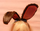 Bendable 20 cm Coffee Brown BUNNY Rabbit Ears Headband , wire inside twist-able, white rabbit Easter Cosplay Costumes for children n adult