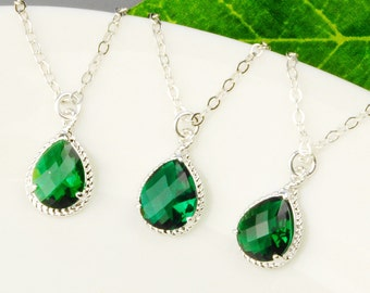 Emerald Green Bridesmaid Jewelry SET OF 3 - 5% OFF Bridesmaid Necklaces - Silver Emerald Green Glass Pendant Necklace - Wedding Jewelry