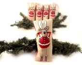 Christmas fabric ornament  with reindeers for Christmas tree