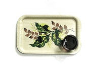 Large Metal Patio Serving Tray Set 6 Lap Trays Tropical Leaves Enameled  Lime Green Brown Mid Century Bar Home Decor