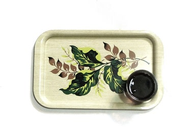 Large Metal Patio Picnic Serving Tray Set 6 Lap Trays Tropical Leaves Enameled  Lime Green Brown Mid Century Bar Home Decor
