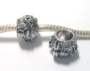 3 Beads - Dragonfly Butterfly Insect Barrel Silver European Bead Charm E1318