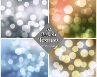 10 Bokeh Texture Overlays INSTANT DOWNLOAD for Web or Print Projects Colors and b&w - Works in Adobe Photoshop, PS Elements or Others