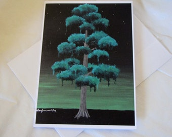 Surreal green Energy Tree FIne Art Any Occasion blank Greeting Card 5x7 small print with envelope