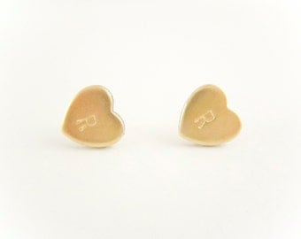 Initial Heart Earrings,  Initial Earrings, Personalized Letter Earrings, Bridesmaid Jewelry Gift, Brass Gold, Spring Jewelry, Mother's Day