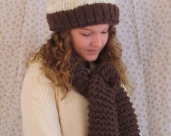 Hand Knit Hat and Scraft Set