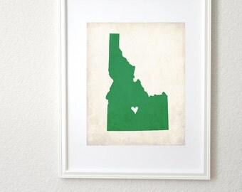 Idaho Rustic State Map. Personalized Idaho Map. Idaho Wedding Map. Wedding Gift. Honeymoon Gift. Family Travel Map. Art Print 8x10.