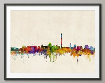 Washington DC Skyline, Cityscape Art Print (969)