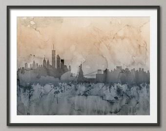 New York Skyline, NYC Cityscape Art Print (1245)