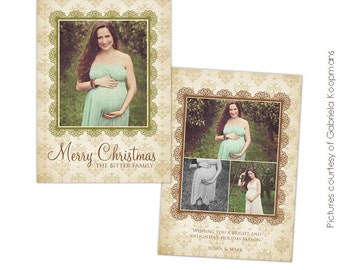 INSTANT DOWNLOAD  - Christmas Card Photoshop template - Honey Christmas - E554