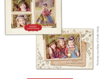 INSTANT DOWNLOAD - Holiday Card Template - Vintage girls Landscape - E241