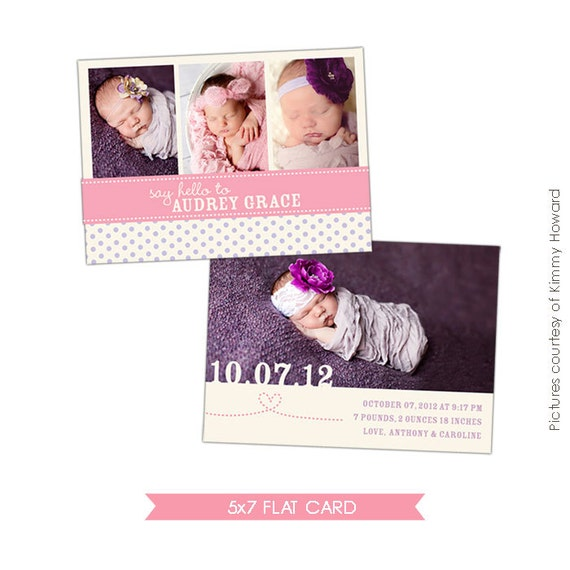 Birth announcement photoshop template - Charming day - E430