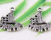 10 Number 1 Mama Charms Antique Silver Tone Metal 18 x 15 mm - ts469