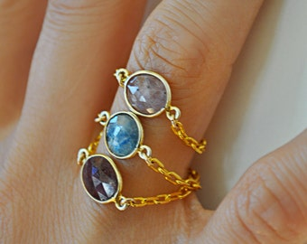 HANDMADE STACKABLE SAPPHIRE ring set.