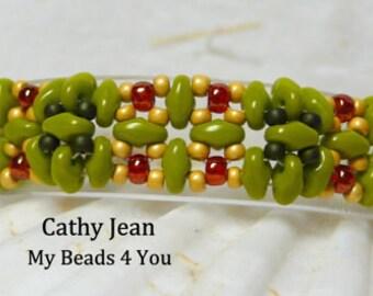 Beadwoven Bracelet, Beaded Bracelet, Seed Bead Bracelet, Beaded Cuff, Beadwork, Beaded Jewelry, Embellished Bracelet, Superduo Beaded