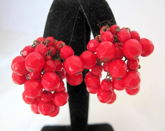 Cherry Red Earrings Cha Cha Lucite Bead