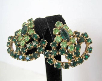 Green Earrings Rhinestone Clip Style