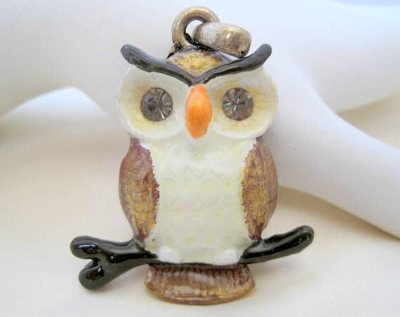 Owl Pendant - Detailed Enamel - Large Rhinestone Eyes - 70's pendant